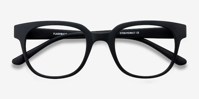 Flashback Matte Black Plastique Montures de Lunettes d'EyeBuyDirect, Vue Rapprochée