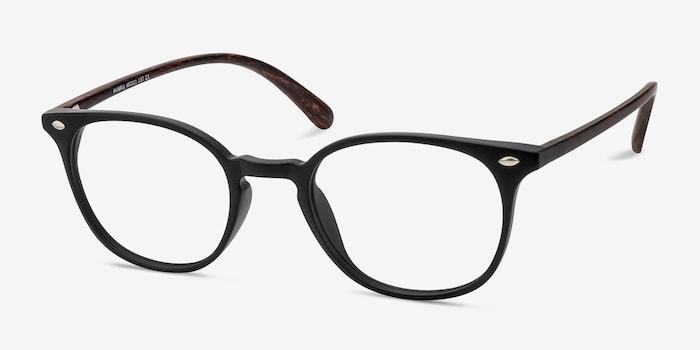 Hubris Matte Black Plastic Eyeglass Frames from EyeBuyDirect, Angle View