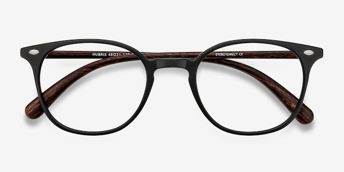 Hubris Matte Black Plastic Eyeglass Frames from EyeBuyDirect, Closed View