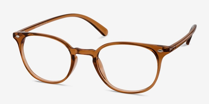 Hubris Clear Copper Plastic Eyeglass Frames from EyeBuyDirect, Angle View