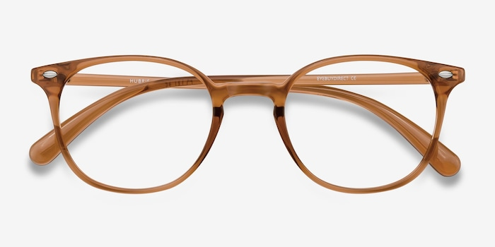 Hubris Clear Copper Plastic Eyeglass Frames from EyeBuyDirect, Closed View