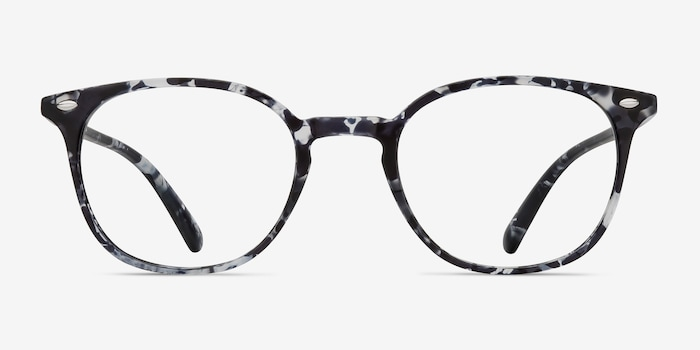 Hubris Black Floral Plastic Eyeglass Frames from EyeBuyDirect, Front View