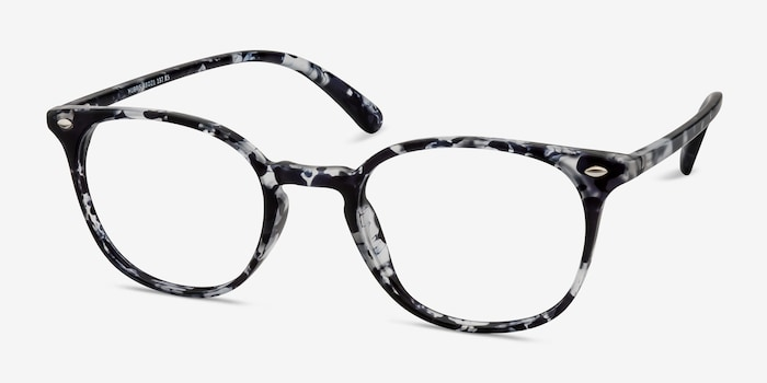 Hubris Black Floral Plastic Eyeglass Frames from EyeBuyDirect, Angle View