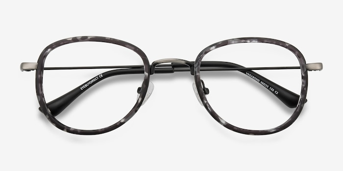 Vagabond Gray Floral Plastic Eyeglass Frames from EyeBuyDirect, Closed View