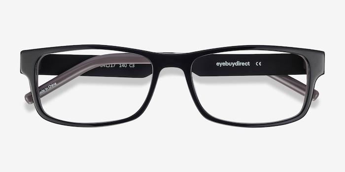 Aidan Black Acetate Eyeglass Frames from EyeBuyDirect, Closed View