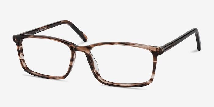Crane Brown Striped Acétate Montures de Lunettes d'EyeBuyDirect, Vue d'Angle