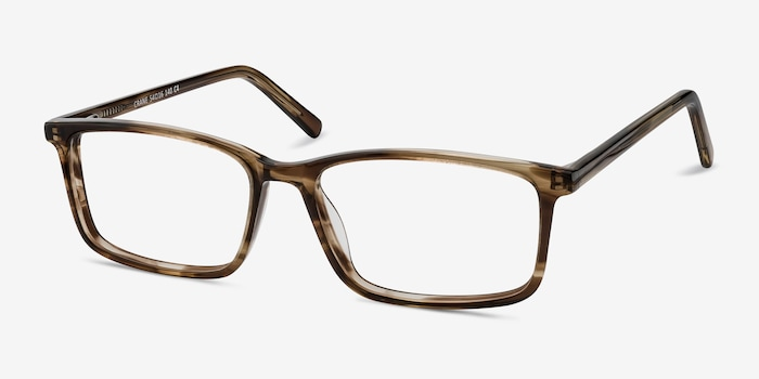 Crane Brown Acetate Eyeglass Frames from EyeBuyDirect, Angle View