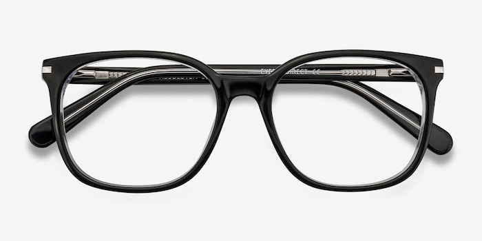 Absolutely Black Acetate Eyeglass Frames from EyeBuyDirect, Closed View