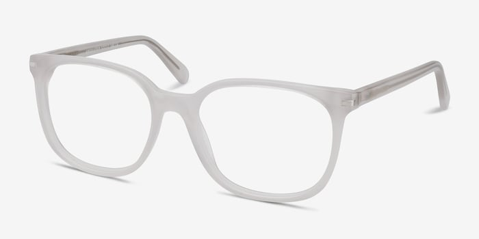 Absolutely White Acetate Eyeglass Frames from EyeBuyDirect, Angle View