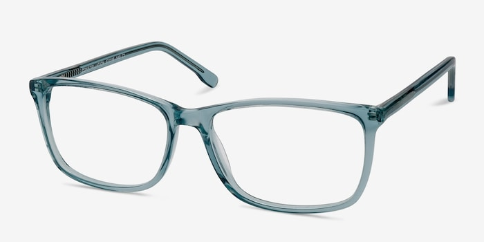 Constellation Clear Blue Acetate Eyeglass Frames from EyeBuyDirect, Angle View