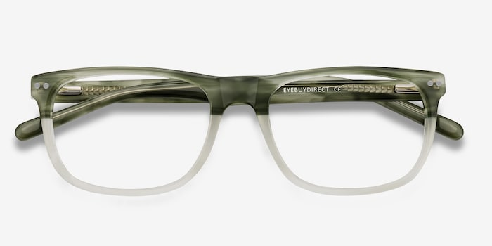 Koi Green Acetate Eyeglass Frames from EyeBuyDirect, Closed View