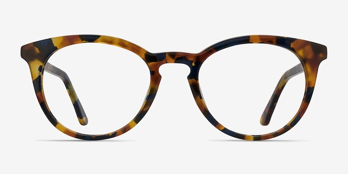 Griffin Amber & Navy Acetate Eyeglass Frames from EyeBuyDirect, Front View