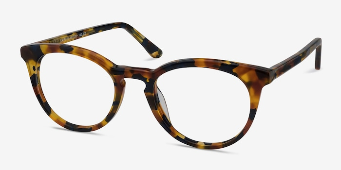 Griffin Amber & Navy Acetate Eyeglass Frames from EyeBuyDirect, Angle View