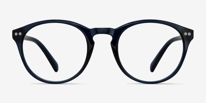 Revolution Navy Plastic Eyeglass Frames from EyeBuyDirect, Front View