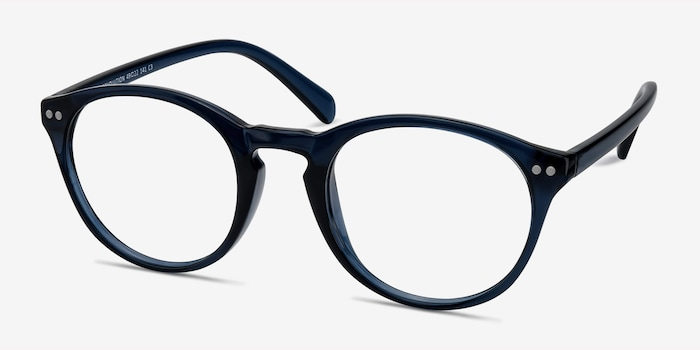 Revolution Navy Plastic Eyeglass Frames from EyeBuyDirect, Angle View