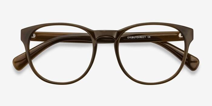 Heartbeat Dark Brown Plastic Eyeglass Frames from EyeBuyDirect, Closed View