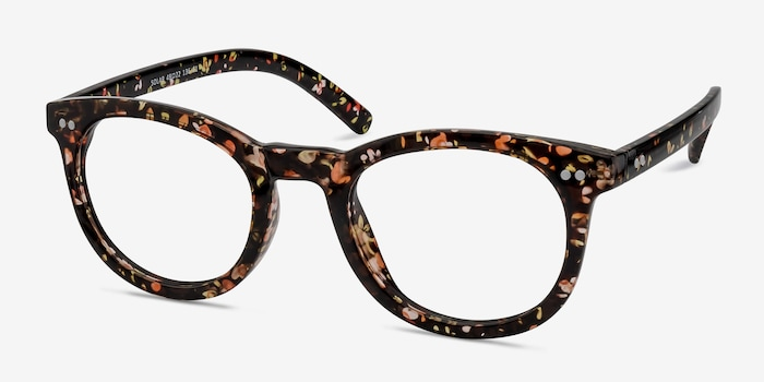 Solar Black Floral Plastic Eyeglass Frames from EyeBuyDirect, Angle View