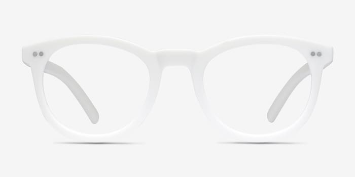 Solar Matte White Plastic Eyeglass Frames from EyeBuyDirect, Front View