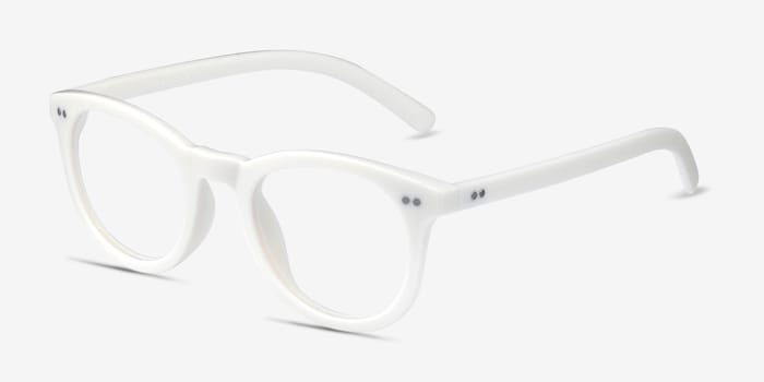 Solar Matte White Plastic Eyeglass Frames from EyeBuyDirect, Angle View