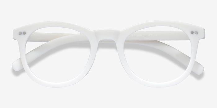 Solar Matte White Plastic Eyeglass Frames from EyeBuyDirect, Closed View