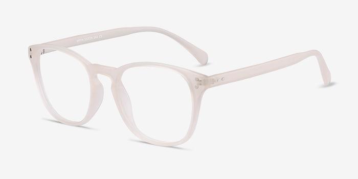 Myth Matte White Plastic Eyeglass Frames from EyeBuyDirect, Angle View