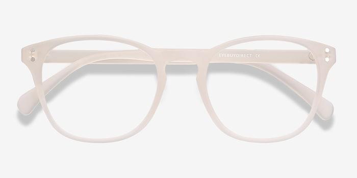 Myth Matte White Plastic Eyeglass Frames from EyeBuyDirect, Closed View