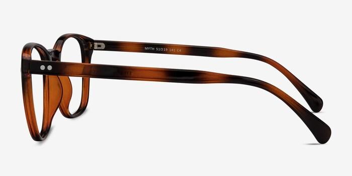 Myth Brown Plastic Eyeglass Frames from EyeBuyDirect, Side View