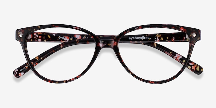 Dame Floral Plastic Eyeglass Frames from EyeBuyDirect, Closed View