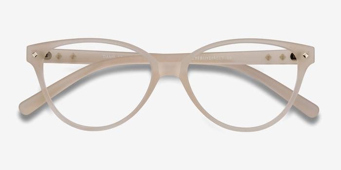 Dame Matte Clear Plastique Montures de Lunettes d'EyeBuyDirect, Vue Rapprochée