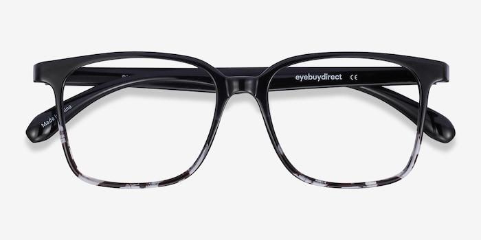 Blocks Black Clear Plastic Eyeglass Frames from EyeBuyDirect, Closed View