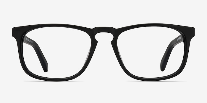 Rhode Island Matte Black Acetate Eyeglass Frames from EyeBuyDirect, Front View