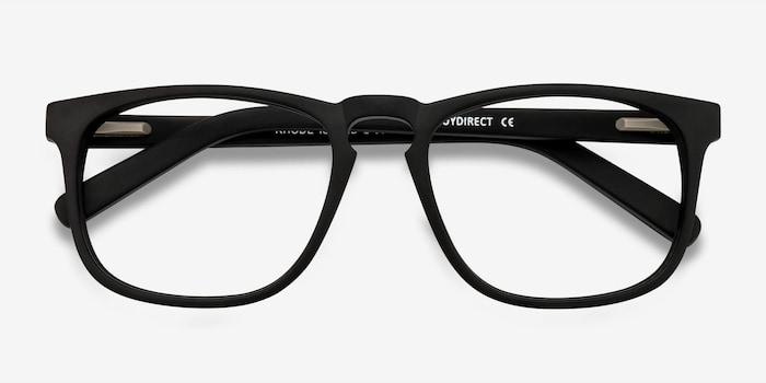 Rhode Island Matte Black Acetate Eyeglass Frames from EyeBuyDirect, Closed View
