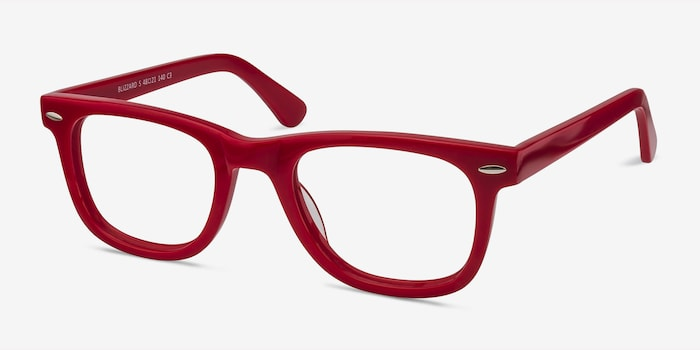 Blizzard Raspberry Acetate Eyeglass Frames from EyeBuyDirect, Angle View