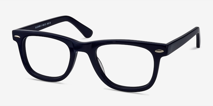 Blizzard Navy Acetate Eyeglass Frames from EyeBuyDirect, Angle View
