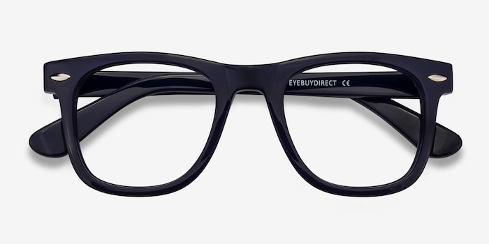 Blizzard Navy Acetate Eyeglass Frames from EyeBuyDirect, Closed View