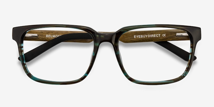 Belmont Coffee Acetate Eyeglass Frames from EyeBuyDirect, Closed View