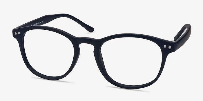 Instant Crush Matte Navy Plastic Eyeglass Frames from EyeBuyDirect, Angle View