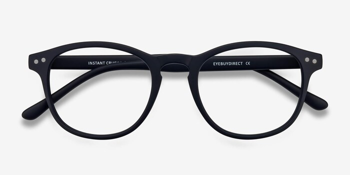 Instant Crush Matte Navy Plastic Eyeglass Frames from EyeBuyDirect, Closed View
