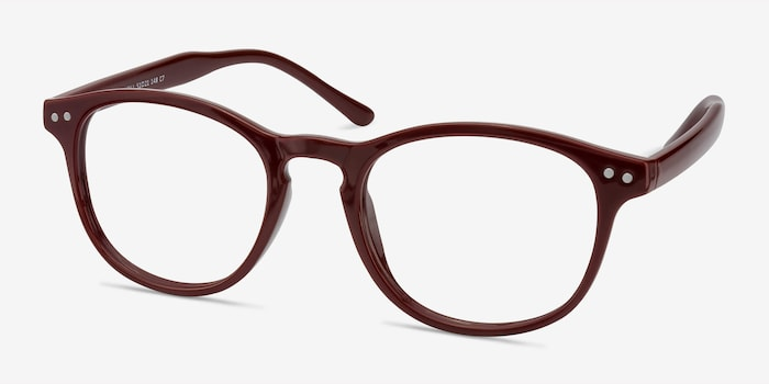 Instant Crush Red Plastic Eyeglass Frames from EyeBuyDirect, Angle View