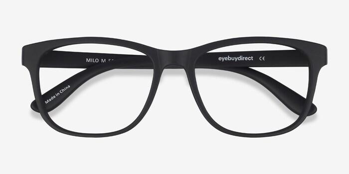 Milo Matte Black Plastic Eyeglass Frames from EyeBuyDirect, Closed View