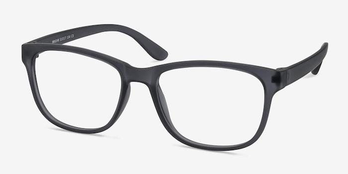 Milo Matte Gray Plastic Eyeglass Frames from EyeBuyDirect, Angle View