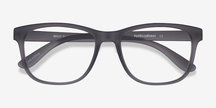 Milo Matte Gray Plastic Eyeglass Frames from EyeBuyDirect, Closed View