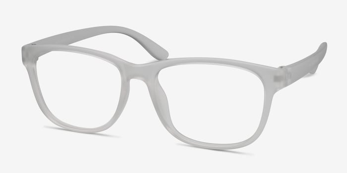 Milo Frosted Clear Plastic Eyeglass Frames from EyeBuyDirect, Angle View