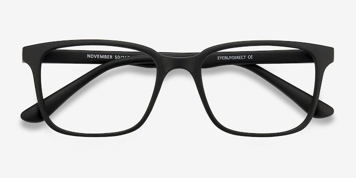 November Matte Black Plastic Eyeglass Frames from EyeBuyDirect, Closed View