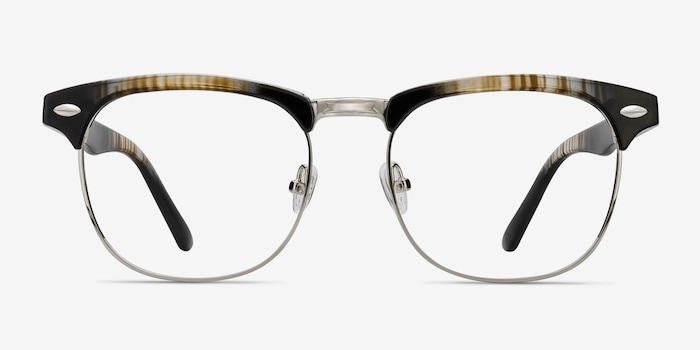 Coexist Striped Metal Eyeglass Frames from EyeBuyDirect, Front View