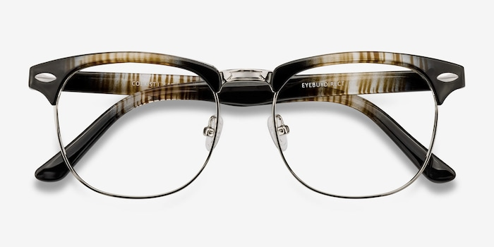 Coexist Striped Metal Eyeglass Frames from EyeBuyDirect, Closed View