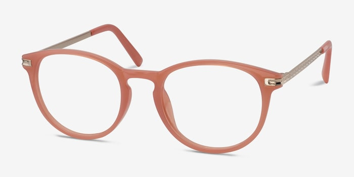 Daphne Pink Plastic Eyeglass Frames from EyeBuyDirect, Angle View