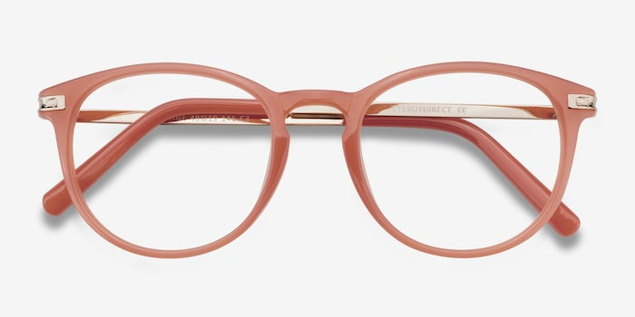 Daphne Pink Plastic Eyeglass Frames from EyeBuyDirect, Closed View