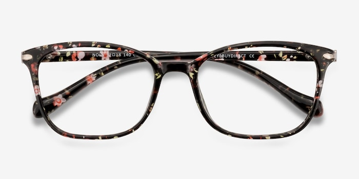 Nola Pink Floral Plastic Eyeglass Frames from EyeBuyDirect, Closed View