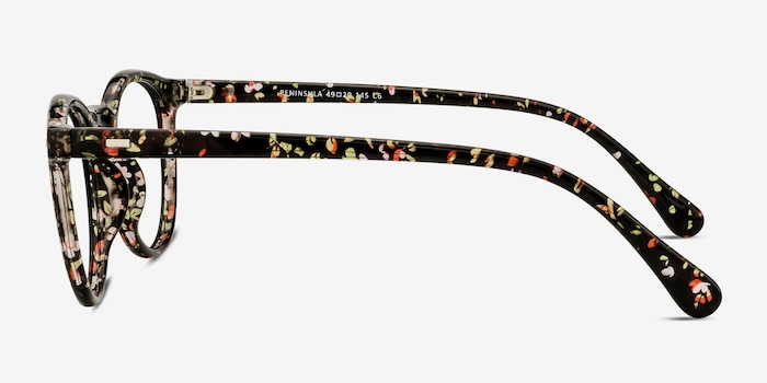 Peninsula Red Floral Plastic Eyeglass Frames from EyeBuyDirect, Side View